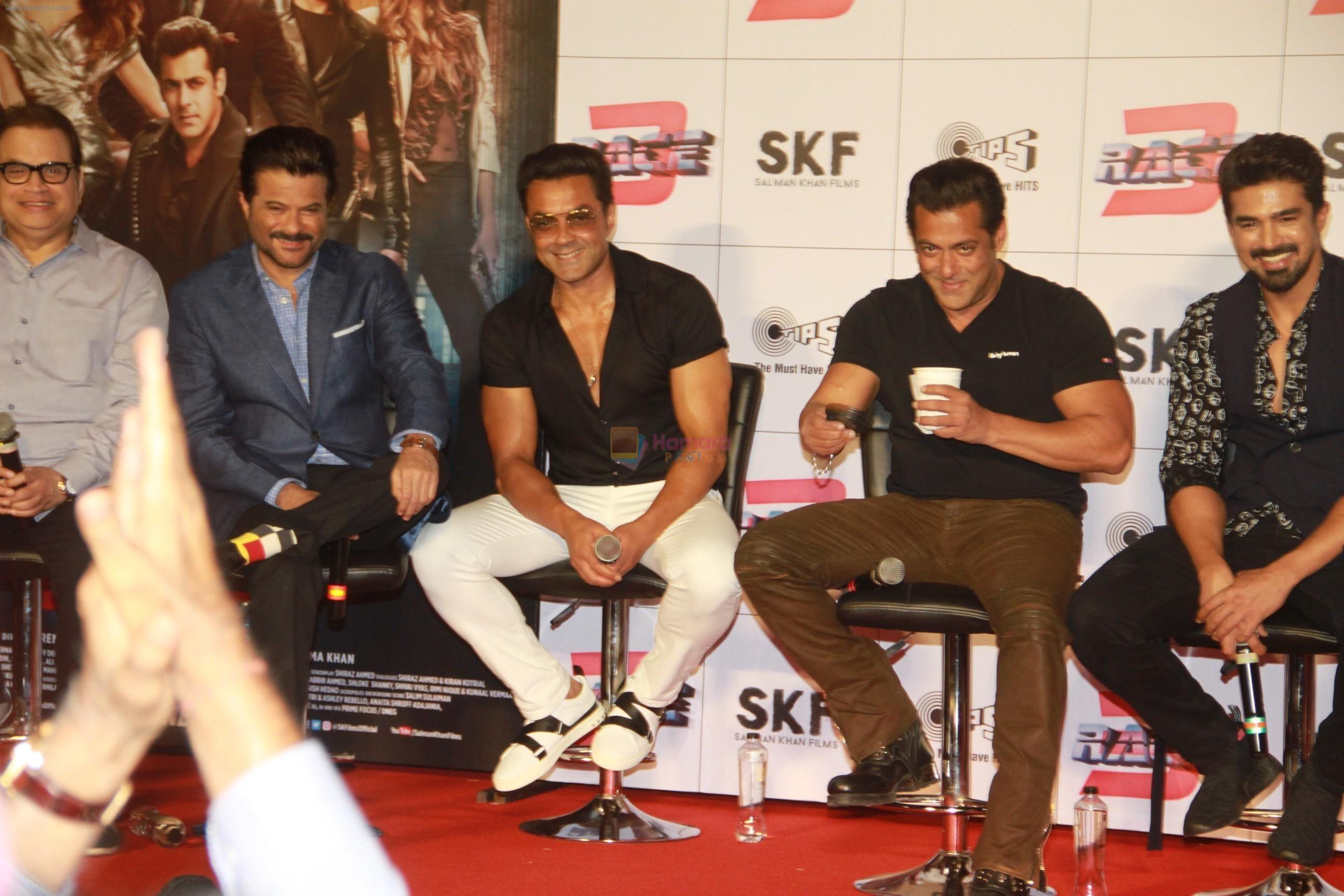 Salman Khan with the men of race 3 in Dubai, UAE. Salman
