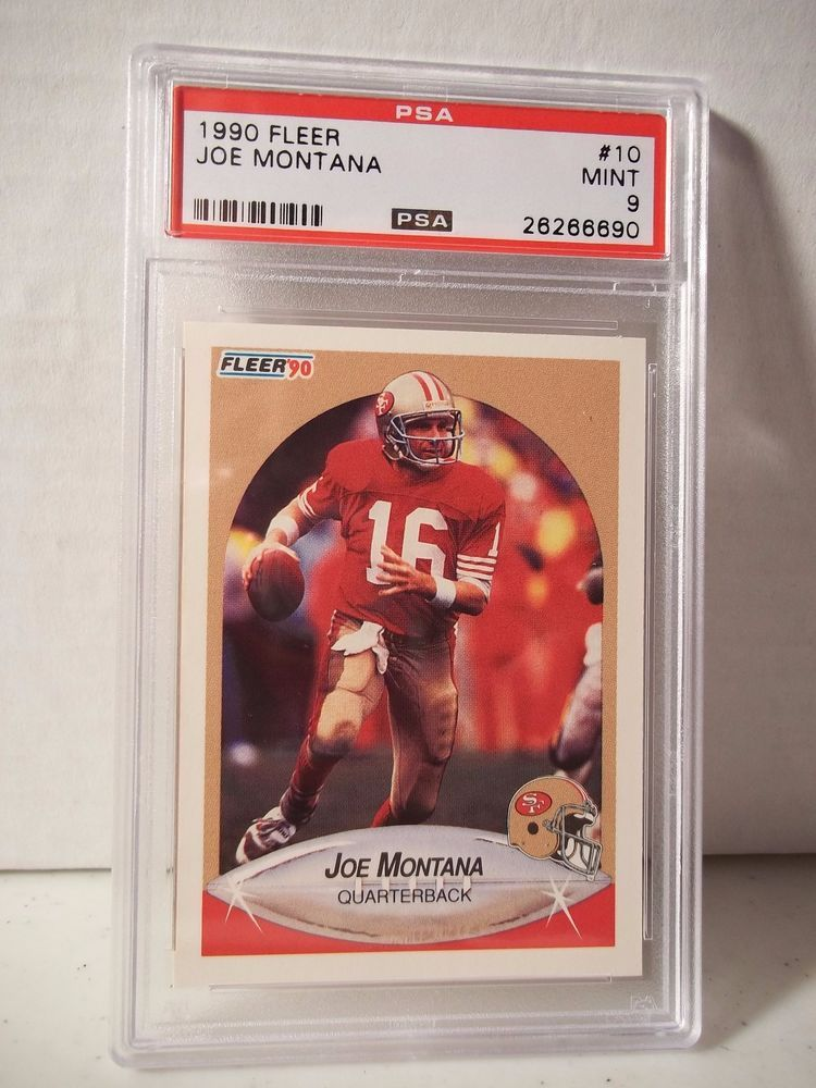 1990 Fleer Joe Montana Psa Mint 9 Football Card 10 Nfl