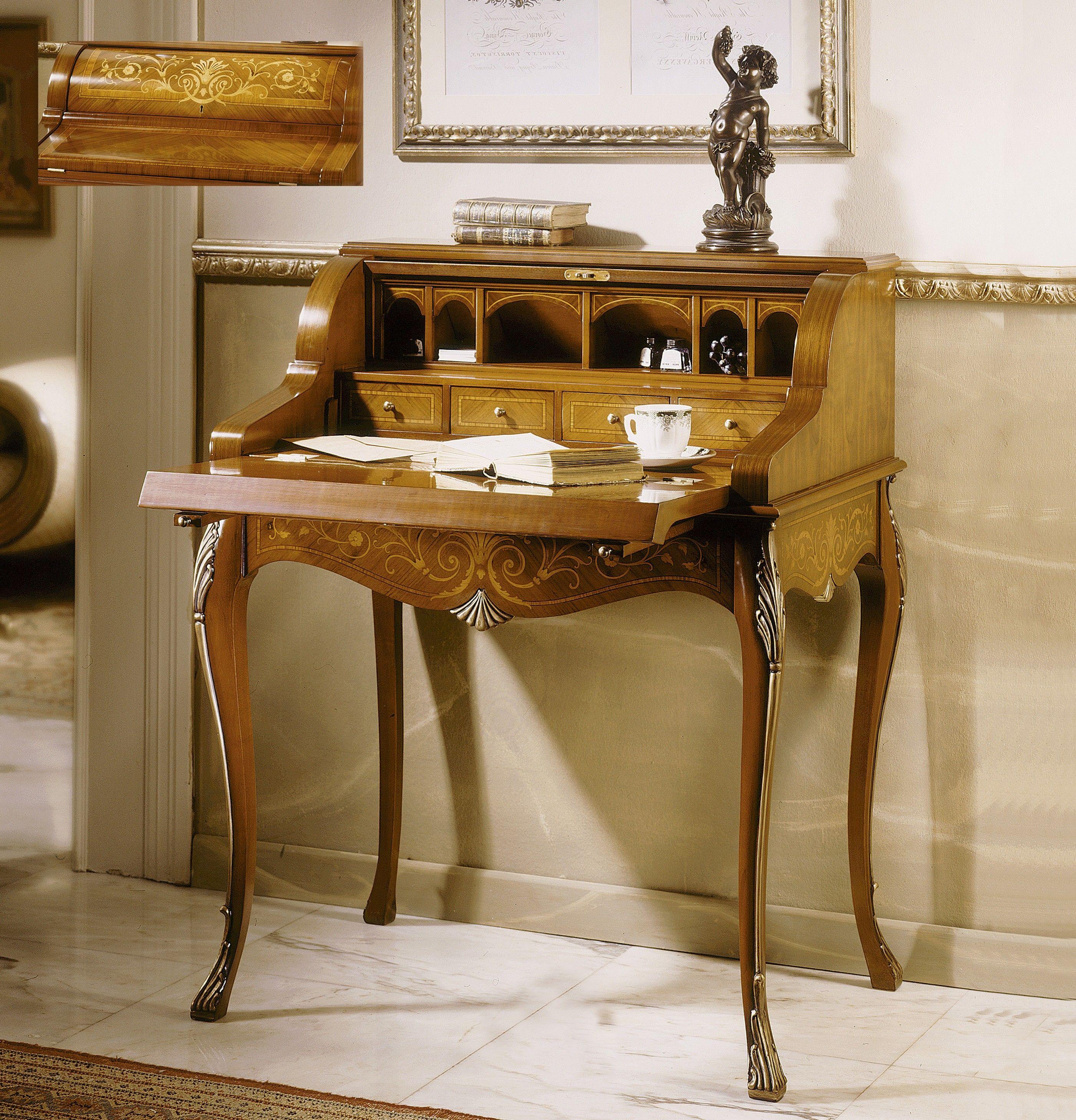Buro escritorio Francés Marquetería. Nogal.