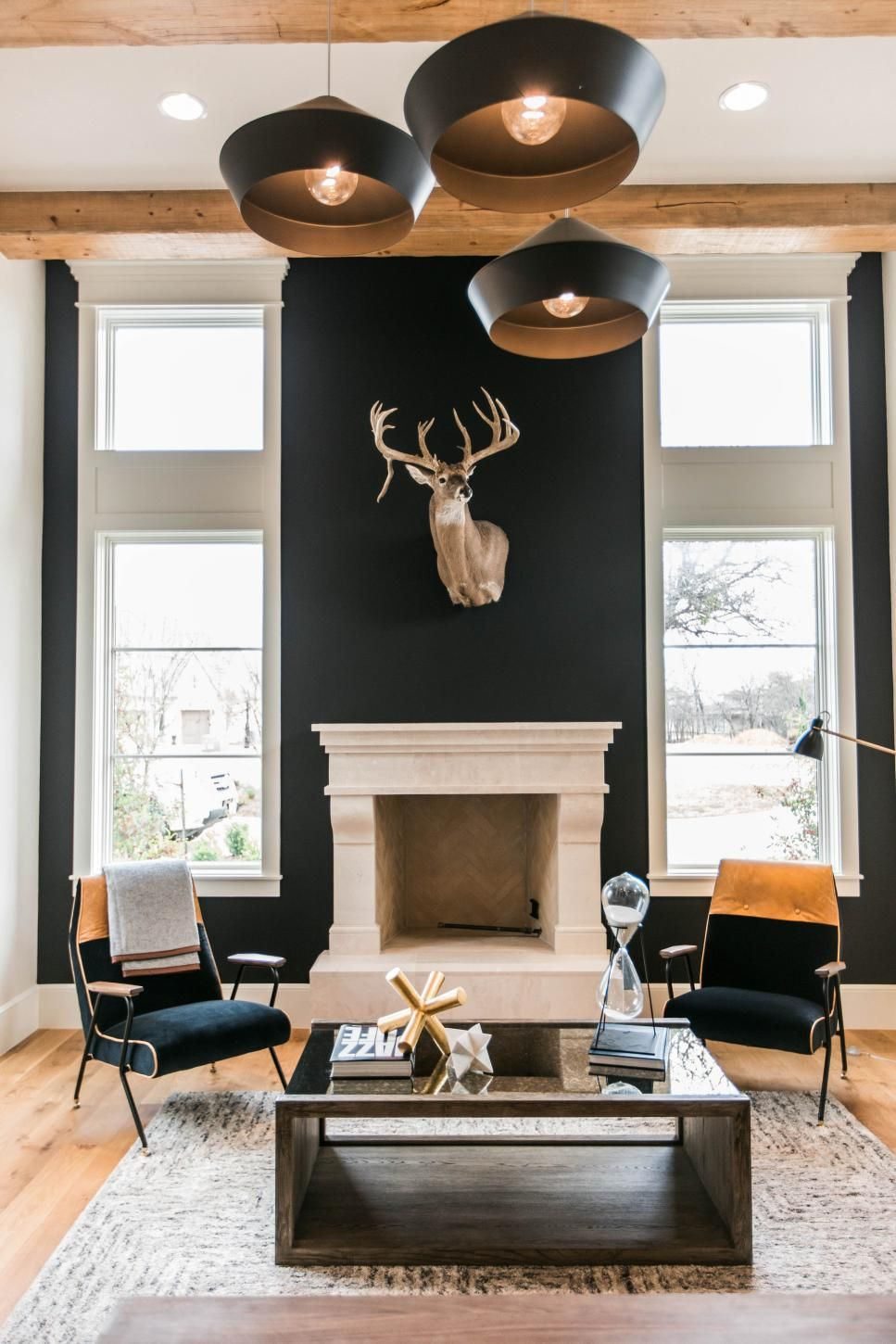 Rustic Contemporary Home Office With Black Wall Accent Walls In Living Room Black Accent Wall Living Room Fireplace Seating
