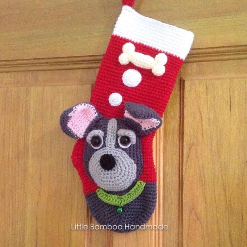 My Cute Dog Christmas Stocking crochet pattern by Little Bamboo Handmade