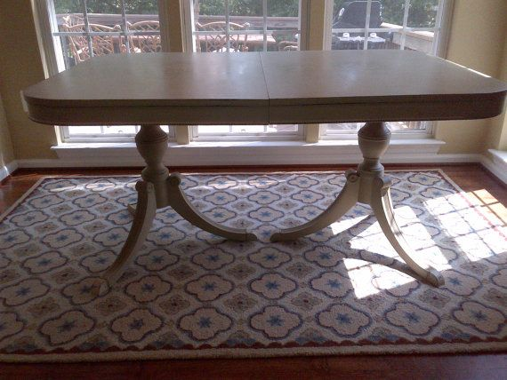 To Beige Chalk Painted 1950s Duncan Phyfe Double Pedestal Dining Table