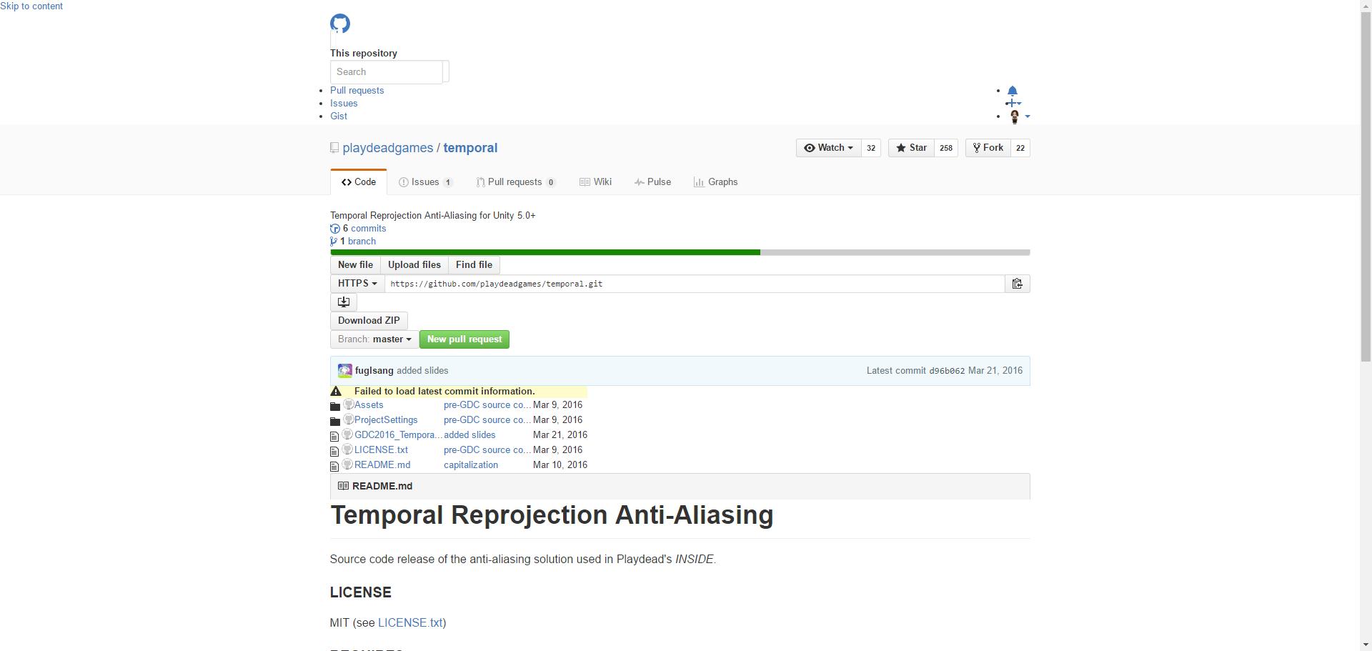 playdeadgames/temporal: Temporal Reprojection Anti