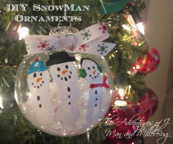 Easy DIY Snowman Christmas Ornaments Made Using Your Childrenu0027s  Fingerprints! A Canu0027t Miss
