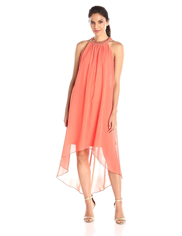 Sl fashions womenus jewel neck hi lo dress startling review