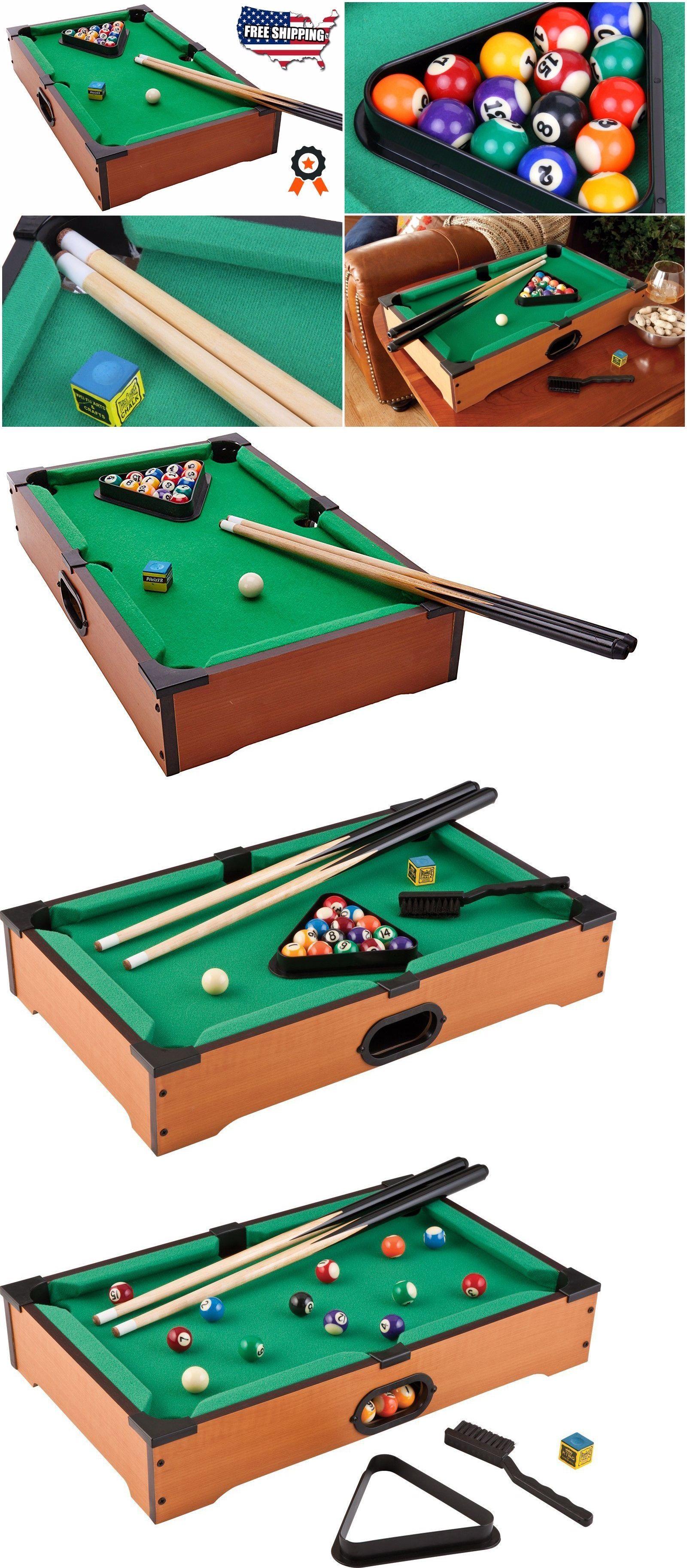 Tables 21213: Mini Pool Table Game Set Tabletop Billiards Cues Balls Chalk  Billiard Portable
