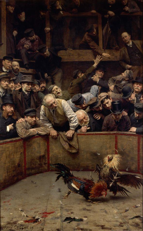 Combat de coqs en Flandre - Rémy Cogghe  - 1889