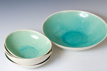 Turquoise And White Ceramic Bowl Set By VitreousWares