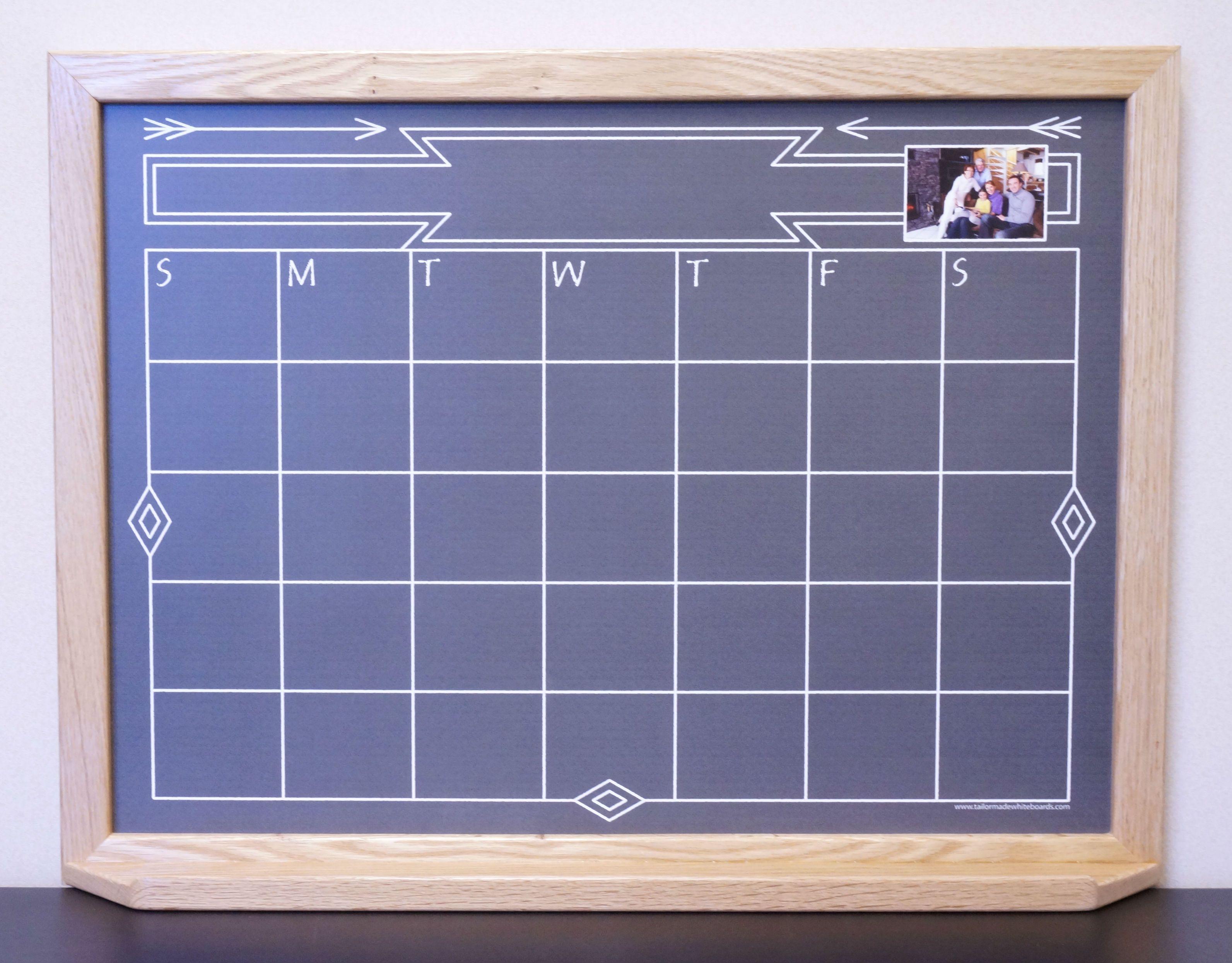 Black Southwestern Chalkboard Style Whiteboard Calendar  Framed Dry Erase