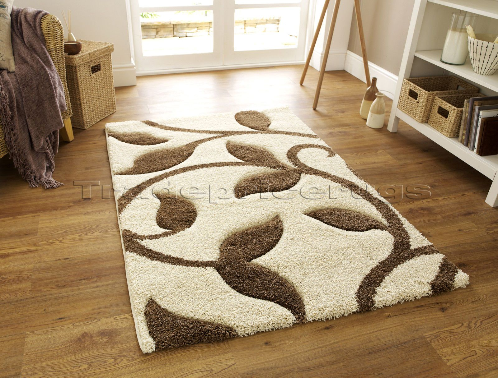 Med Extra Large Thick Deep Pile Gy Soft Cream Ivory White Beige Brown Rug