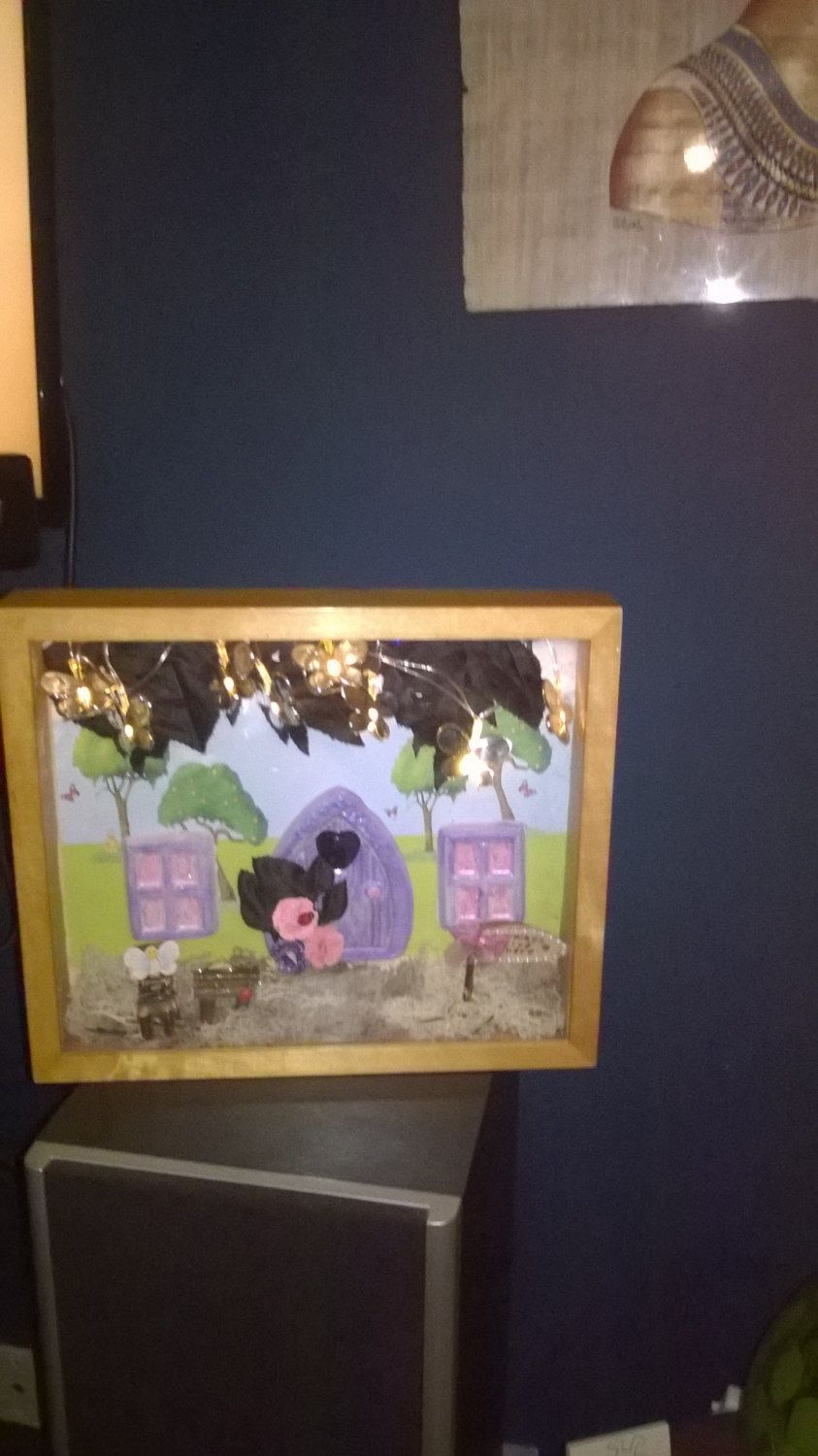 fairy garden in a frame by shineycrafts63 on Etsy