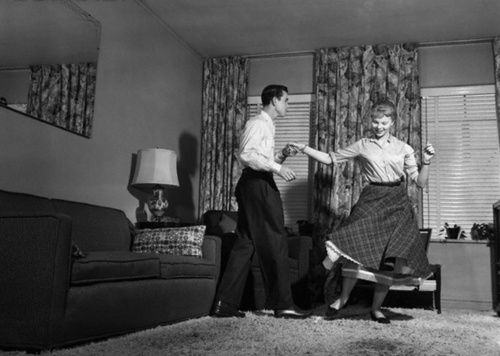 living room dancers 1950s teen doing jitterbug rock and roll in 10698