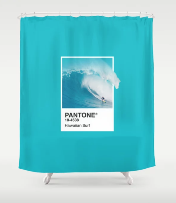 Pantone Hawaiian Surf Shower Curtain Shower Curtain Curtains Colorful Prints