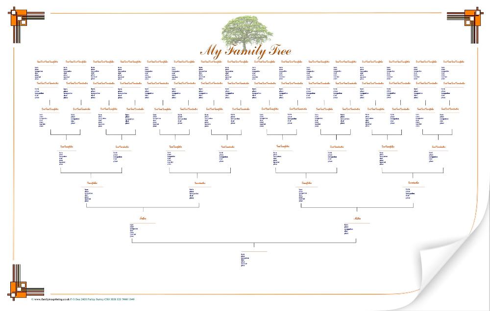 Large Blank Family Tree Chart Family Tree Printable Family Tree Template Family Tree Chart