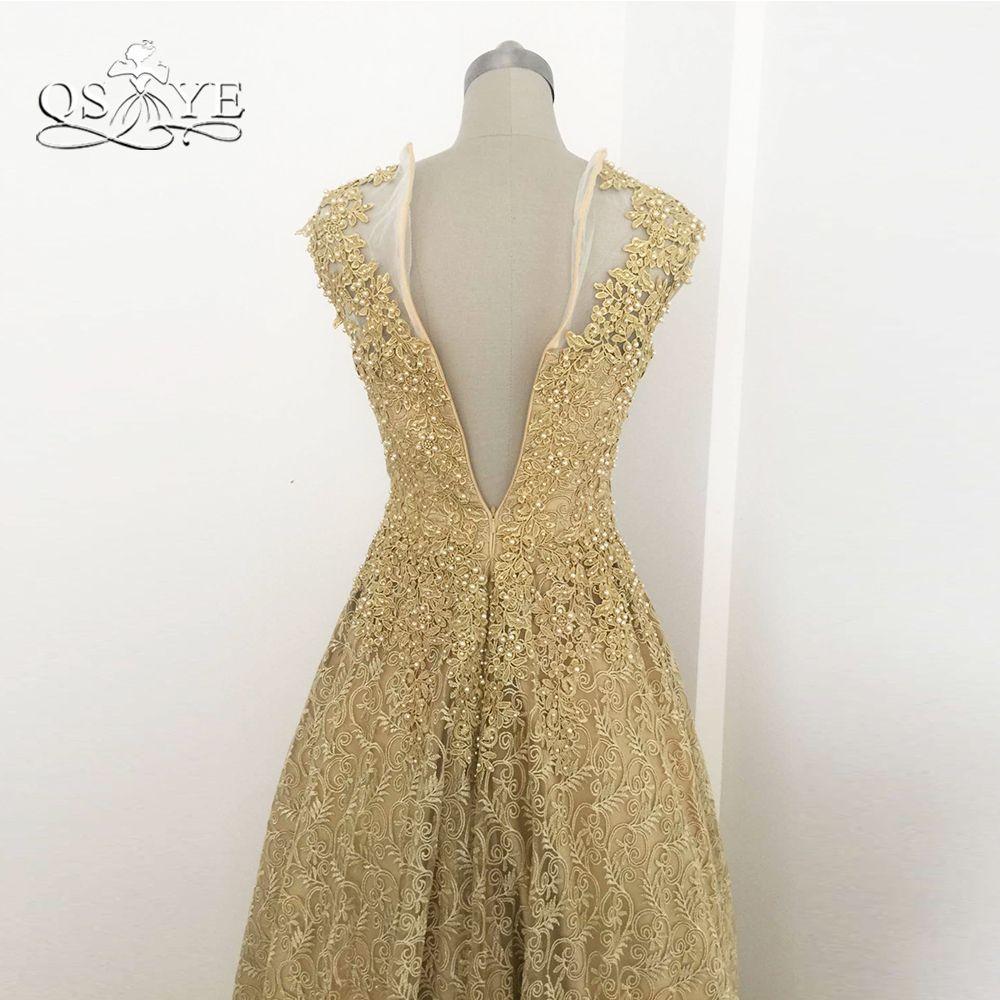 Gold lace long prom dresses robe de soiree elegant pearls v