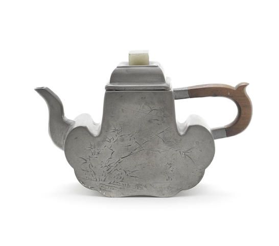 Pewter-encased Yixing teapot and cover, 19th century