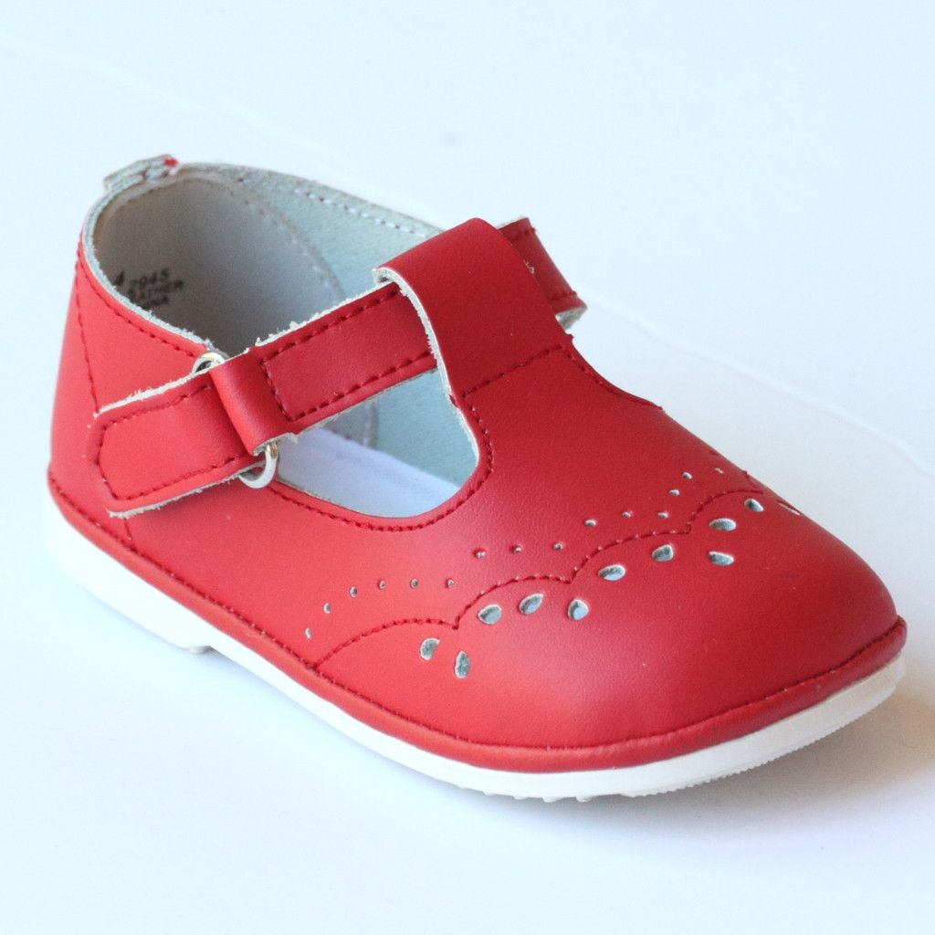 85a77e099b897 Angel Infant Girls 2945 Red Leather T-Strap Mary Janes