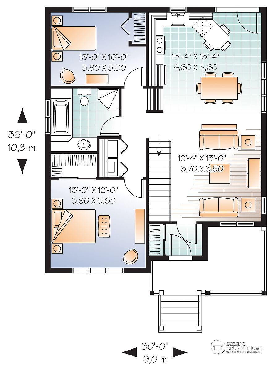 dtail du plan de maison unifamiliale w3126