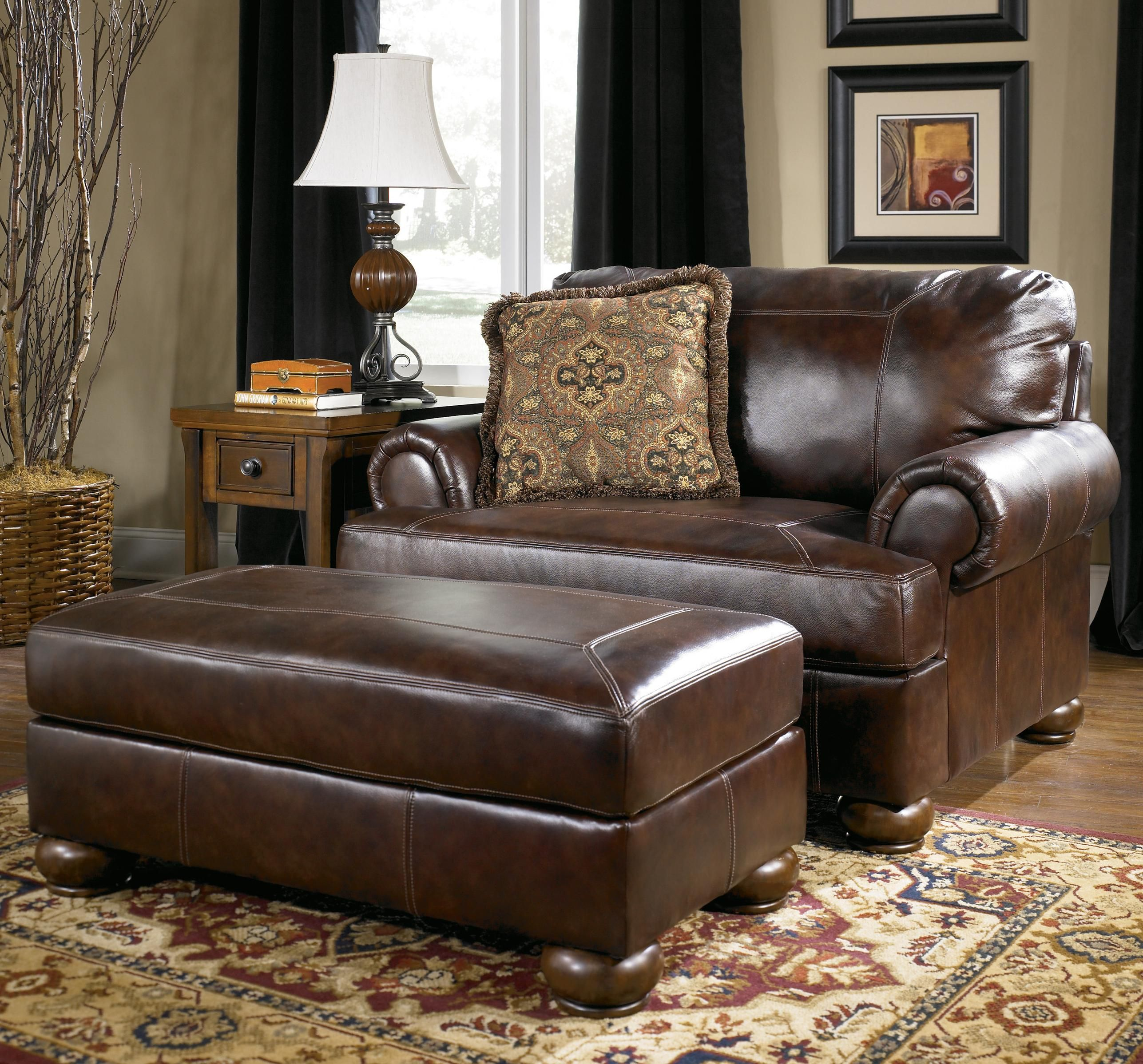 Axiom - Walnut Traditional Upholstered Chair-and-a-Half and Ottoman ...