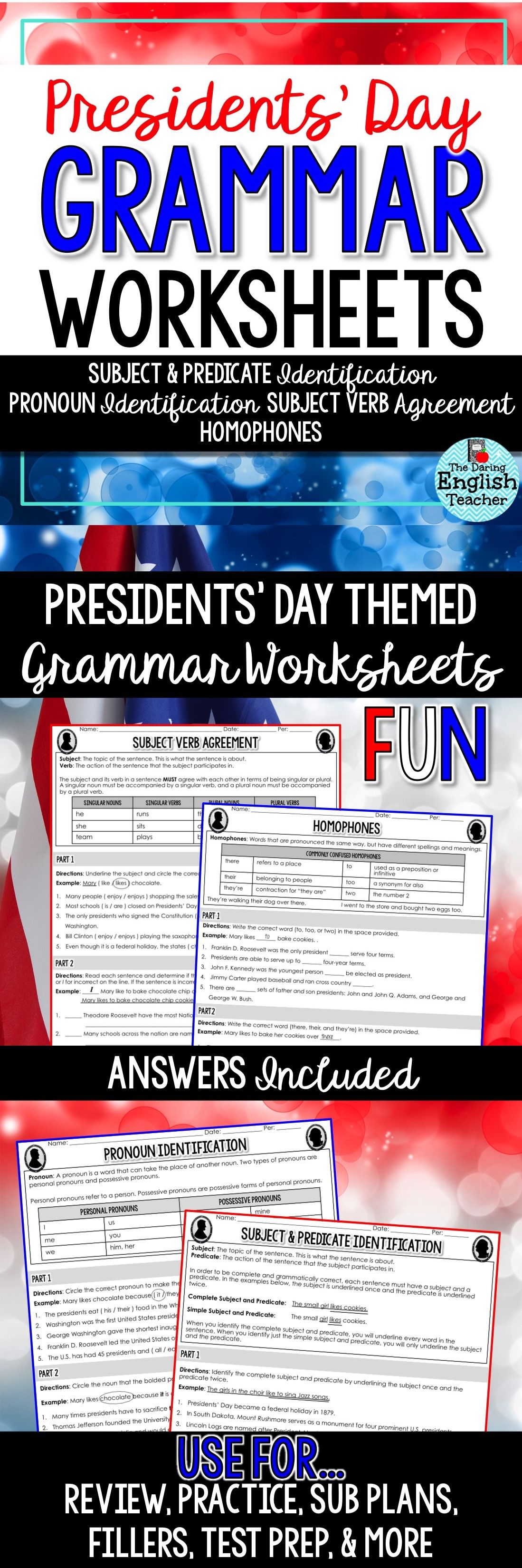 Presidents Day Grammar Worksheets