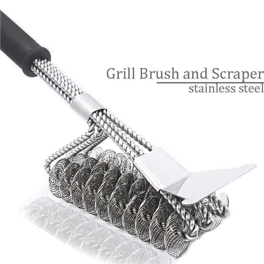 """18/"""" Stainless Steel Bristle Free Grill Brush Scraper Tool for Cleaning BBQ New"""