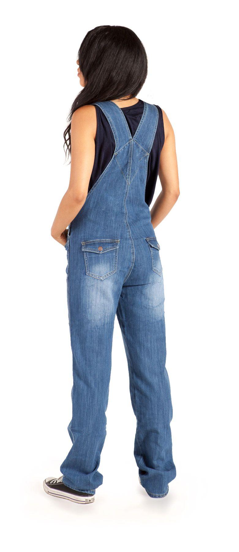 Women Denim Dungarees Slim Fit Ripped Jeans Ladies Jumpsuit Rompers UK Size 8-18
