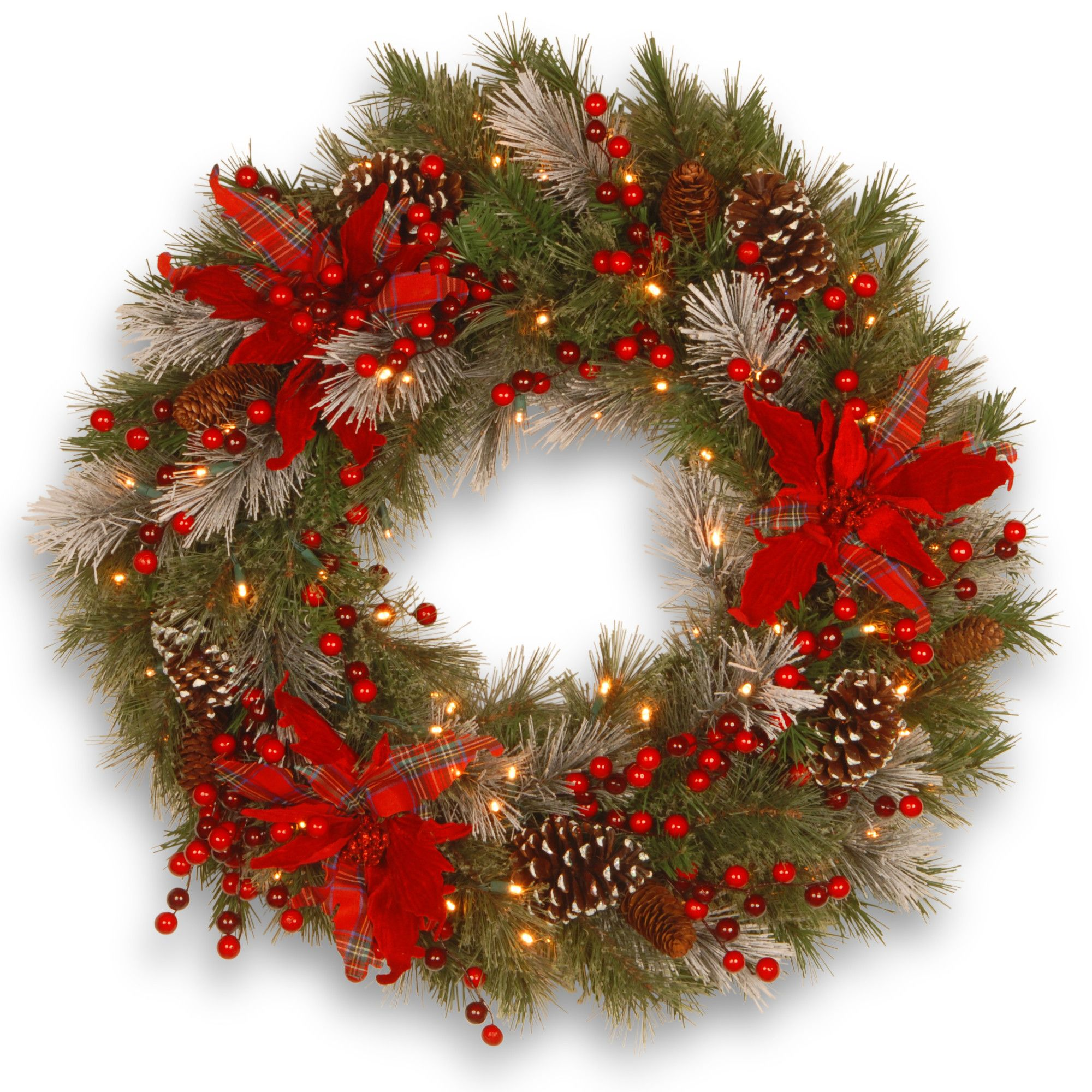 decorative pre lit 24 tartan plaid wreath with 50 battery operated white led lights wayfair