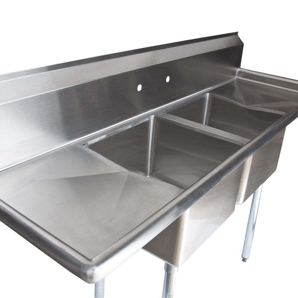 2 Compartment Sink With Drainboard Regency 16 Gauge Two Compartment Stainless Steel Com Commercial Sink Stainless Steel Kitchen Sink Commercial Kitchen Sinks