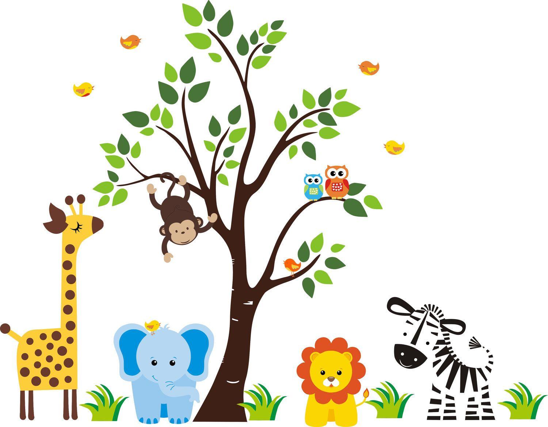 Tree Wall Decal With Jungle Animals Nursery Wall Decal - Nursery wall decals jungle