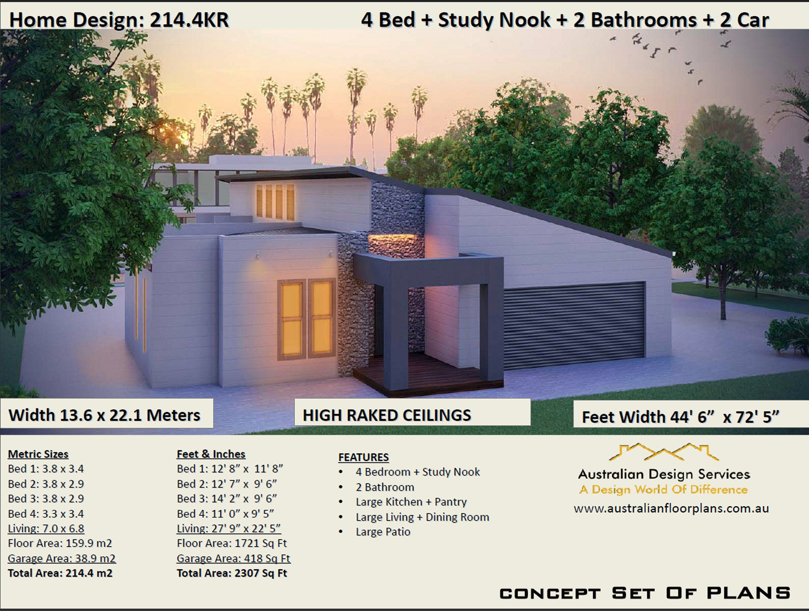 Skillion Roof House Plans 4 Bedroom House Plans Double Garage Home Plans 4 Bedroom Design Affordable House Plans House Plans Australia Skillion Roof