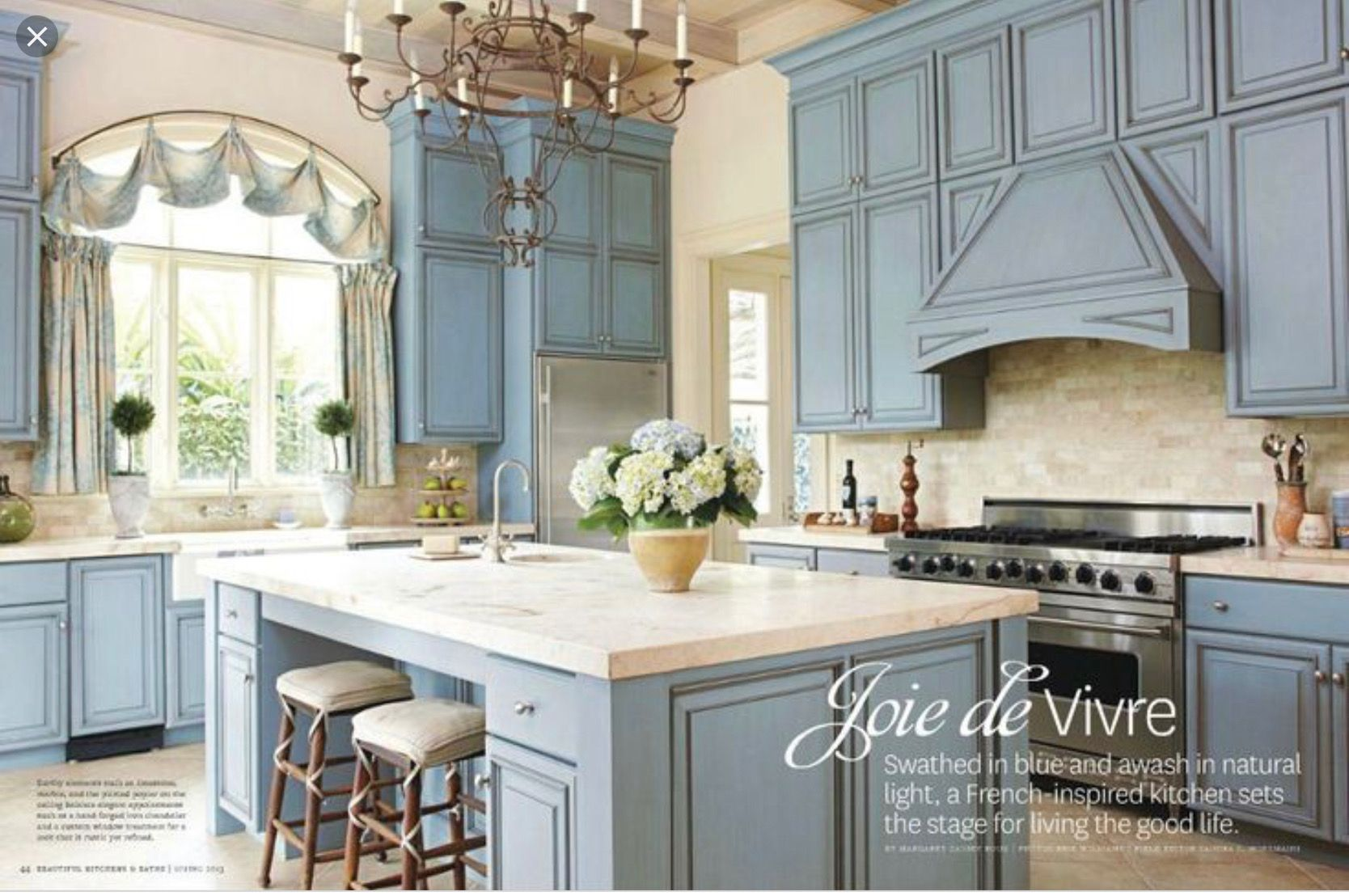 Pin By Michelle Markquart On 1130 Fairfield French Country Kitchens Blue French Country Kitchen Country Style Kitchen