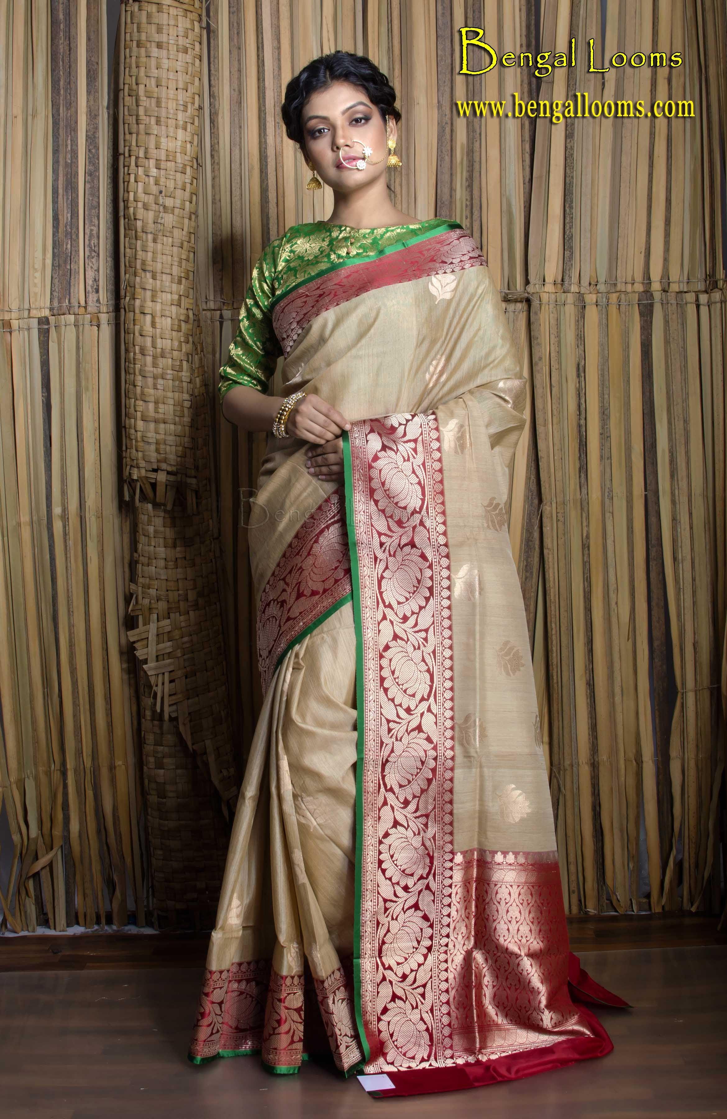9ca39743ce5f6 Pure Handloom Tussar Silk Banarasi Saree in Beige
