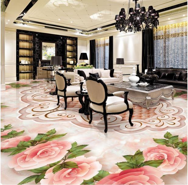 (46.98$)  Buy here  - Custom 3d floor pattern europea 3d floor tiles soft pack rose floor waterproof self adhesive pvc flooring roll