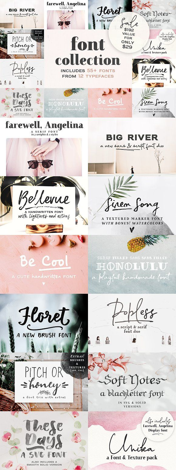 2018 Font Bundle by Ana's Fonts on @creativemarket  fonts  fontbundle  typography  creativemarket  affiliatelink