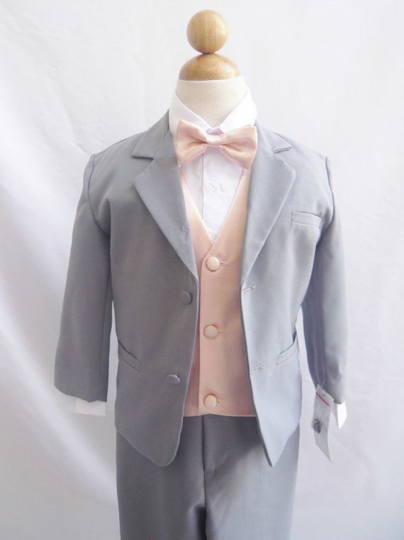 Formal Boy Suit Gray With Peach Light Vest For By