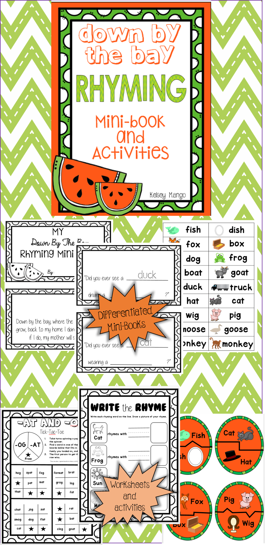 "A fun rhyming document that goes along with the well-known song ""Down By the Bay"". Included is a differentiated mini-book, printable worksheets, and a puzzle great for a center. https://www.teacherspayteachers.com/Product/Down-By-The-Bay-Rhyming-Mini-Book-and-Activities-2091118"