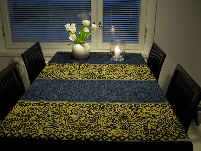 "Marimekko ""Pieni Kulkunen"" fabric warms up a Finnish kitchen during winter months. #Finland #design"