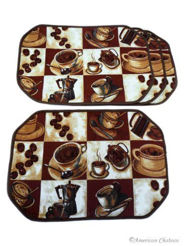 Set 4 Piece Coffee Placemats Espresso Latte Decor Table Cafe Kitchen