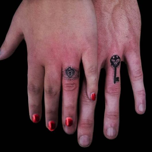 Key Interlocking Ring Tattoo Designs Wedding ring tattoos