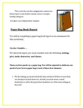 paper bag book report and rubric