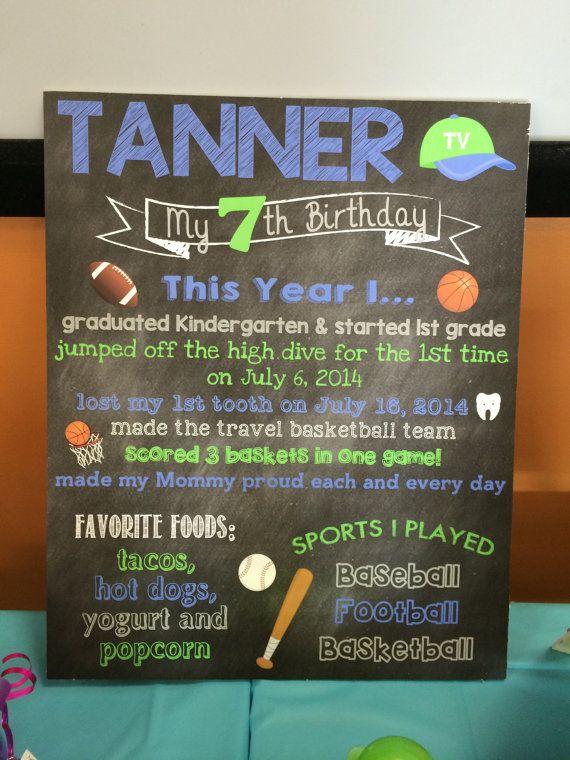 sports birthday chalkboard favorites poster board sign chalkboard