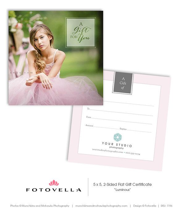 Photography Gift Certificate Photoshop Template Luminous By