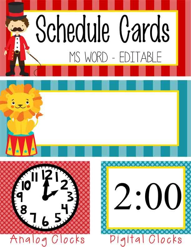 circus schedule cards editable ms word circus theme
