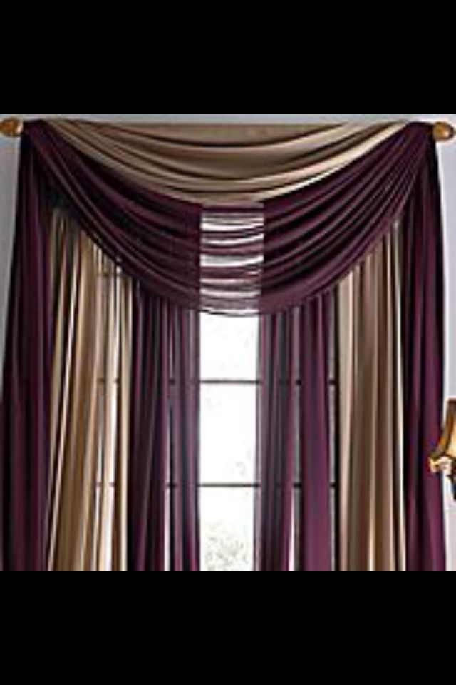 Sheer Curtains Using Two Colors With A Beautiful Swag Just
