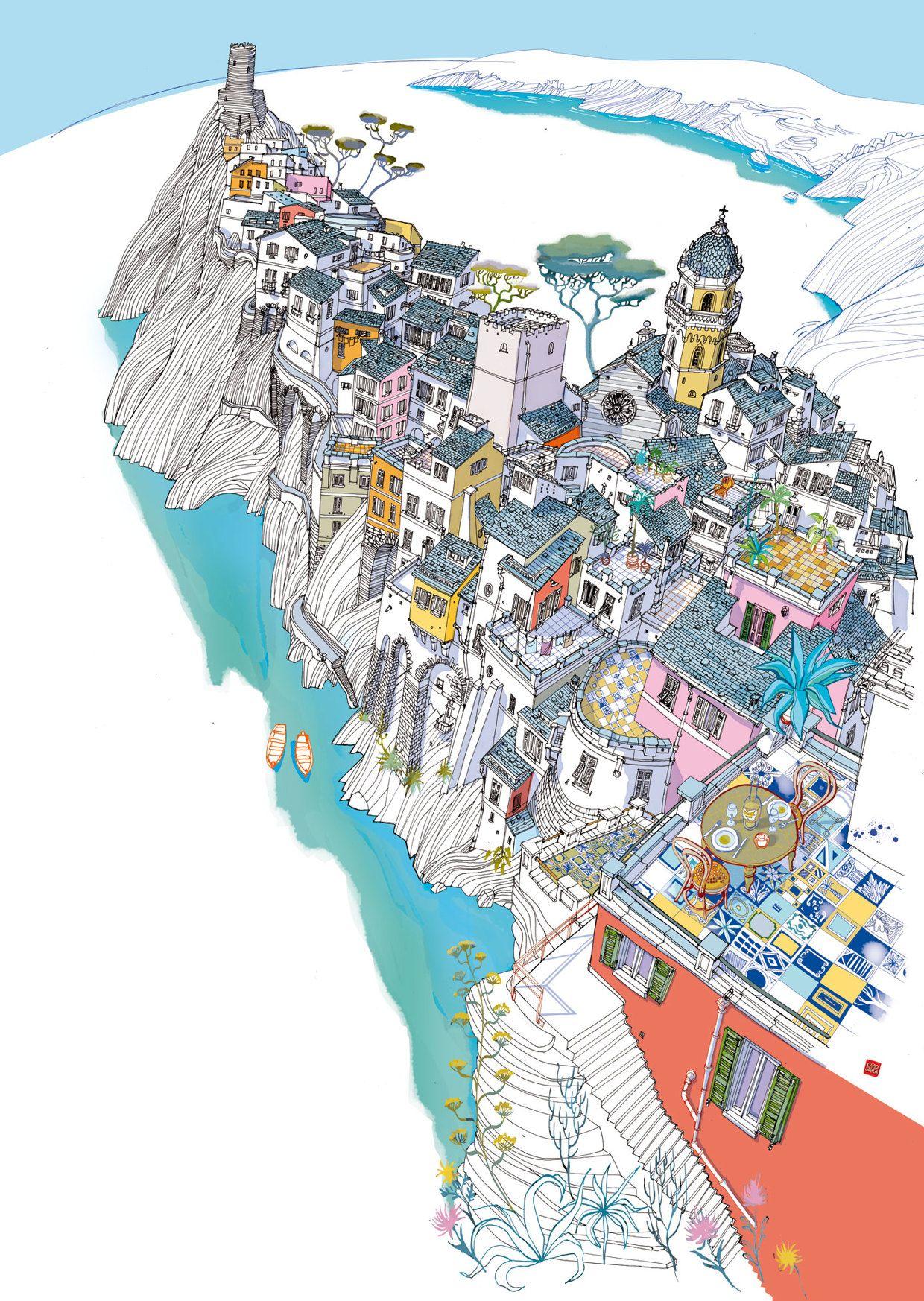Carlo Stanga Le Cinque Terre Illustration Illustration Art