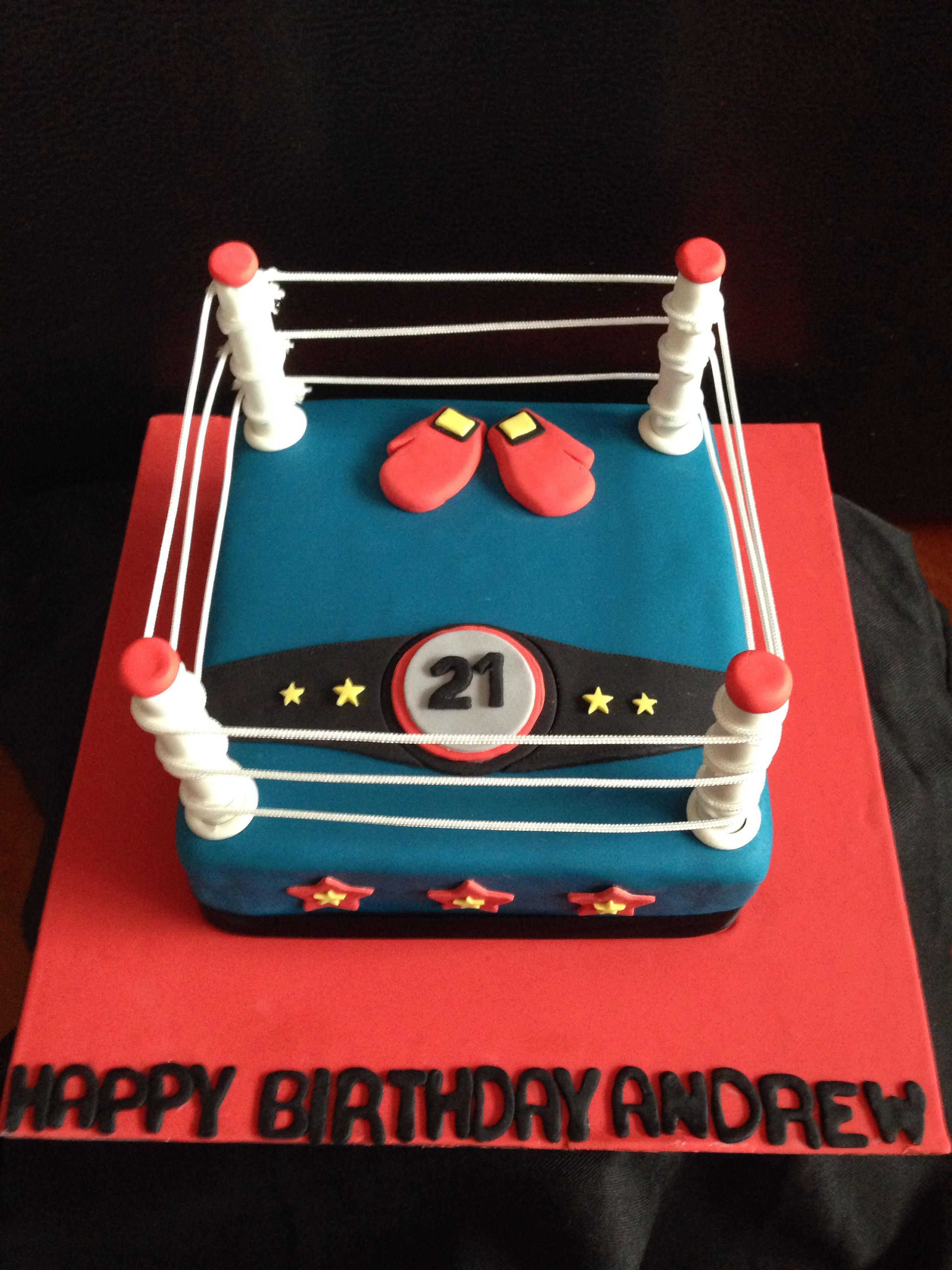 Magnificent Boxing Ring Birthday Cake For A 21St 21St Birthday Cake Funny Birthday Cards Online Hendilapandamsfinfo