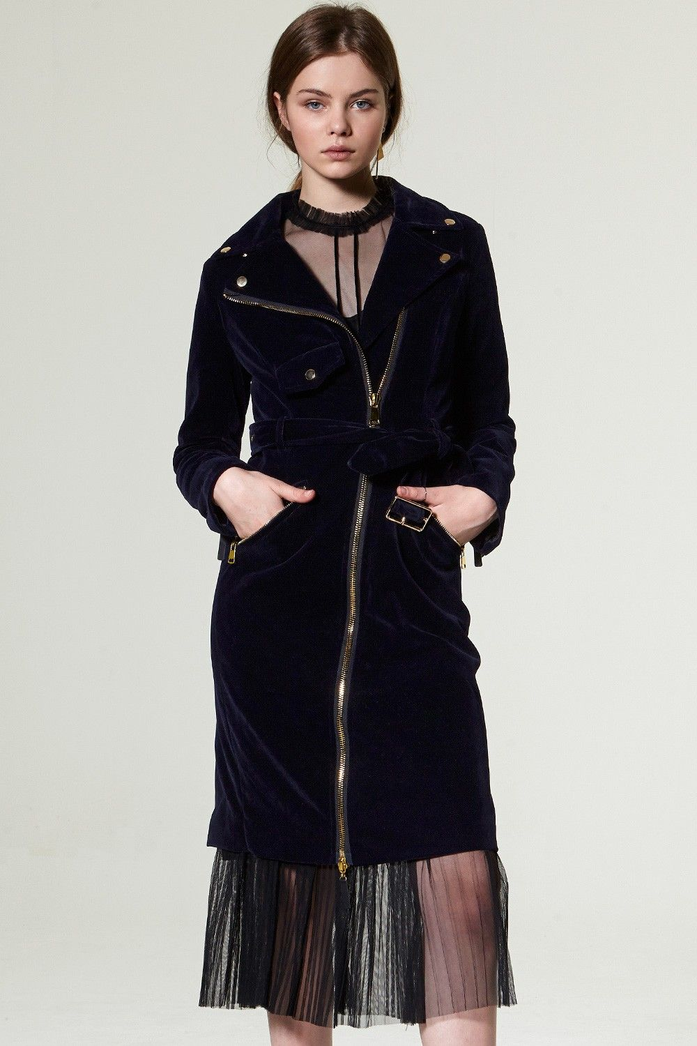 Zoe Velvet Suede Trench Jacket Dress Discover the latest fashion trends online at storets.com