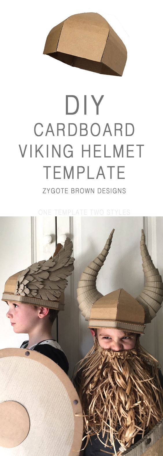 Cardboard Viking Helmet Template. One template two different styles, horns or wings. By Zygote Brown Designs.