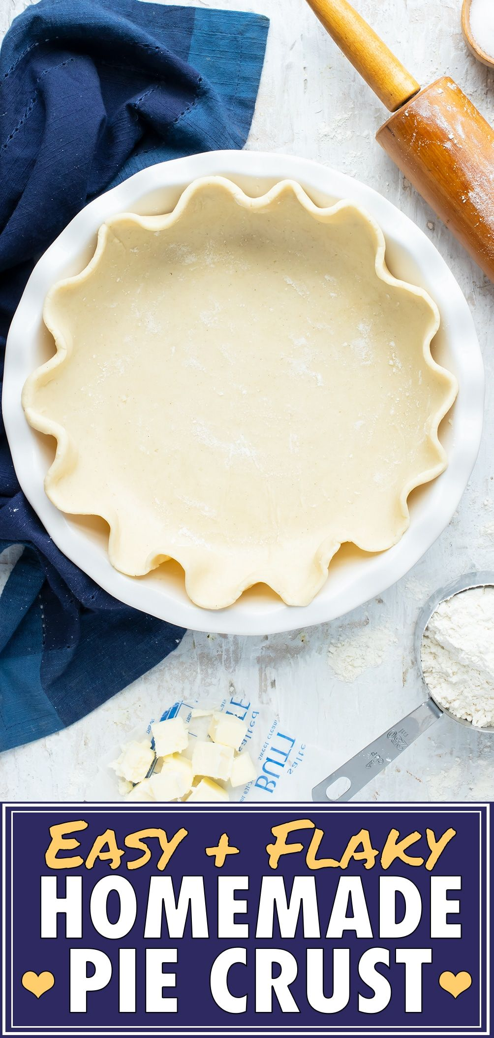 Learn how to make the BEST Homemade Pie Crust Recipe with only four simple ingredients. This ultr