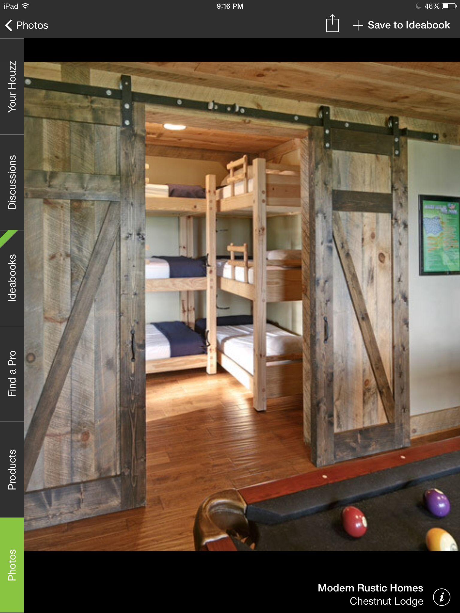Bunkhouse Bedroom Interior Barn Doors Pinterest Bedrooms